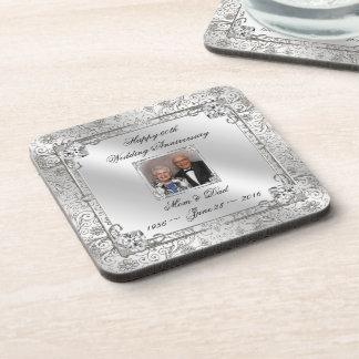 エレガントな第60結婚記念日の写真のコースター 飲み物コースター