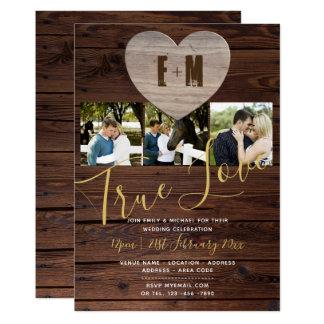 エレガントな素朴な結婚式招待状の写真のモノグラム カード