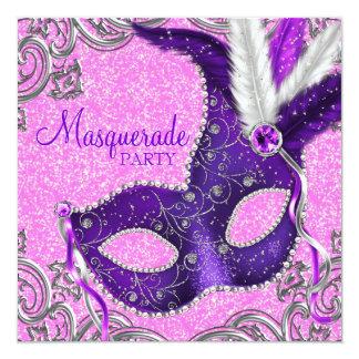 エレガントな紫色およびピンクの仮面舞踏会のパーティー 13.3 スクエアインビテーションカード