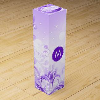 エレガントな紫色および白い花の輝き ワインギフトボックス