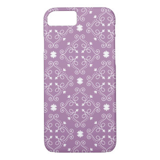 エレガントな紫色および白く華美なダマスク織 iPhone 8/7ケース