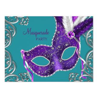 エレガントな紫色および青緑の仮面舞踏会のパーティー 16.5 X 22.2 インビテーションカード