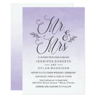 エレガントな紫色のグラデーションな水彩画の結婚式招待状 カード