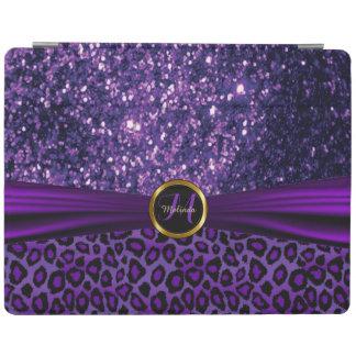 エレガントな紫色のグリッターおよびヒョウの皮 iPadスマートカバー