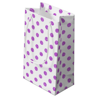 エレガントな紫色のグリッターの水玉模様パターン スモールペーパーバッグ