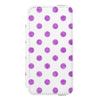 エレガントな紫色のグリッターの水玉模様パターン INCIPIO WATSON™ iPhone 5 ウォレット ケース
