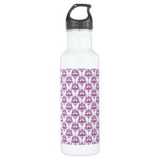 エレガントな紫色のダマスク織パターン ウォーターボトル