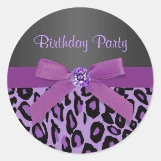 エレガントな紫色のヒョウのステッカー ラウンドシール