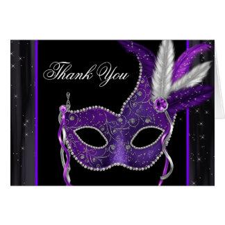 エレガントな紫色の仮面舞踏会のパーティーのサンキューカード カード
