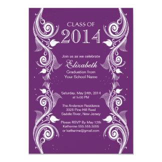 エレガントな紫色の白い卒業のパーティの招待状 カード