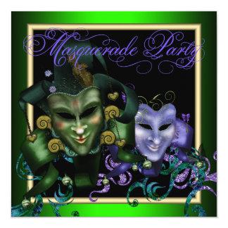 エレガントな紫色の緑の仮面舞踏会のパーティの招待状 カード