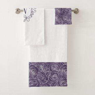 エレガントな紫色の花のモノグラム バスタオルセット