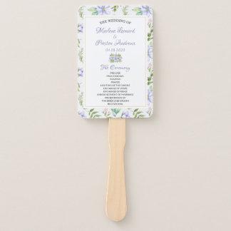 エレガントな紫色の花の結婚式プログラム手ファン ハンドファン