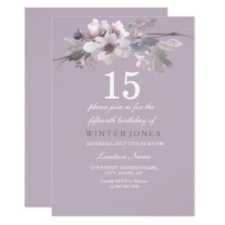 エレガントな紫色の花柄の第15誕生会の招待 12.7 X 17.8 インビテーションカード