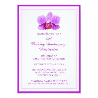エレガントな紫色の蘭第50の結婚記念日 12.7 X 17.8 インビテーションカード