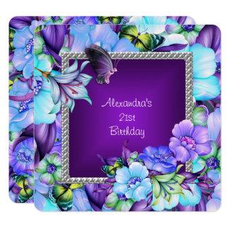 エレガントな紫色の銀製の宝石の花の第21誕生日 カード