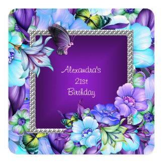エレガントな紫色の銀製の宝石の花の第21誕生日 13.3 スクエアインビテーションカード