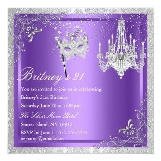 エレガントな紫色及び銀製の仮面舞踏会の第21招待 カード