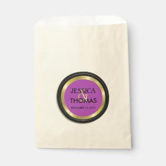 エレガントな紫色、黒および金ゴールド フェイバーバッグ