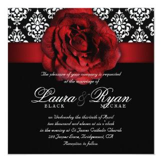 エレガントな結婚式のダマスク織の赤いバラの白黒 13.3 スクエアインビテーションカード