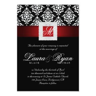 エレガントな結婚式のダマスク織は赤い白黒を宝石で飾ります 12.7 X 17.8 インビテーションカード