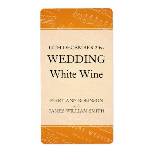 エレガントな結婚式のワインのラベルの楽譜のオレンジ 発送ラベル