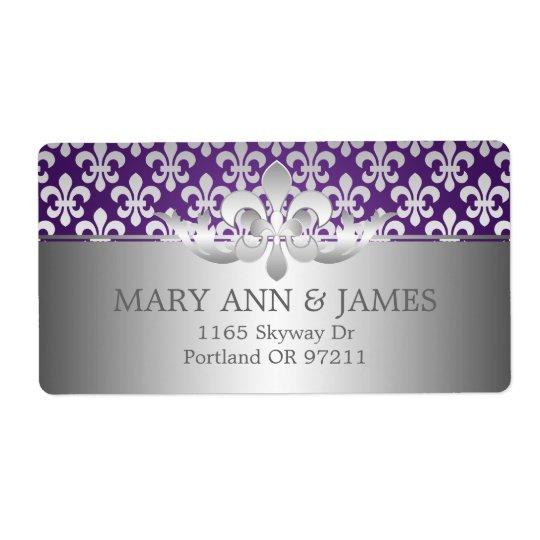 エレガントな結婚式の住所(紋章の)フラ・ダ・リの紫色 ラベル