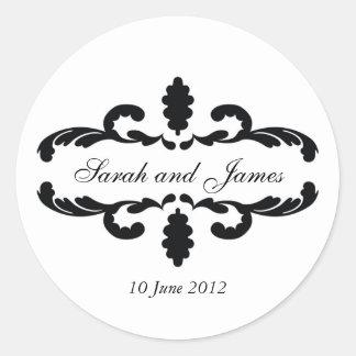 エレガントな結婚式の好意のステッカーの名前の日付 ラウンドシール