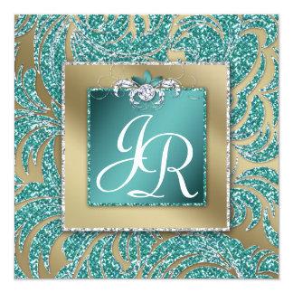 エレガントな結婚式の招待の葉の花のティール(緑がかった色)の輝き カード