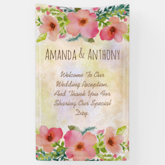 エレガントな結婚式の花柄の水彩画 横断幕