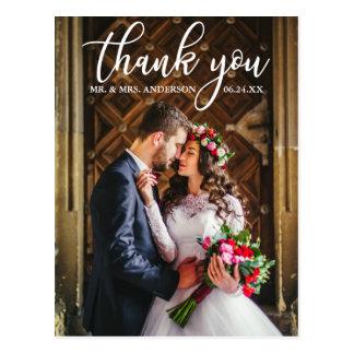 エレガントな結婚式は新郎新婦の写真感謝していしています ポストカード