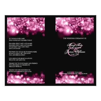 エレガントな結婚式プログラムきらめくなライトピンク チラシ
