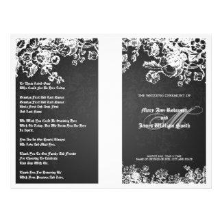 エレガントな結婚式プログラムのビクトリアンな華麗さの黒 チラシ