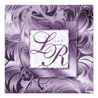 エレガントな結婚式招待状の花の紫色の銀 カード