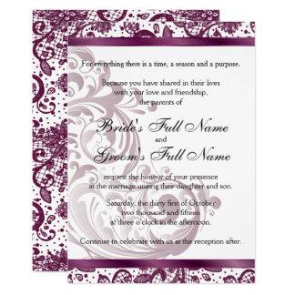 エレガントな結婚式招待状-紫色5x7 12.7 x 17.8 インビテーションカード