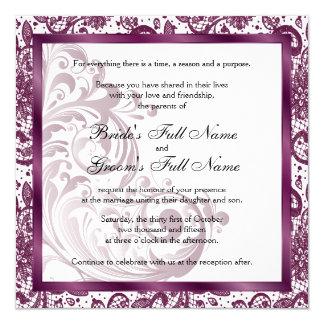 エレガントな結婚式招待状-紫色 カード