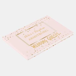 エレガントな結婚式|の赤面のピンクの金ゴールドの紙吹雪 ゲストブック