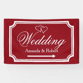 エレガントな結婚披露宴の方向印の旗 横断幕