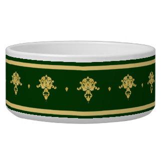 エレガントな緑および金ゴールドのダマスク織