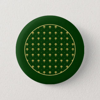 エレガントな緑および金ゴールドのダマスク織 5.7CM 丸型バッジ