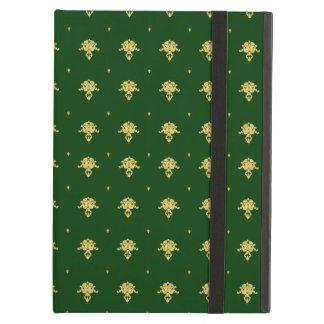 エレガントな緑および金ゴールドのダマスク織 iPad AIRケース