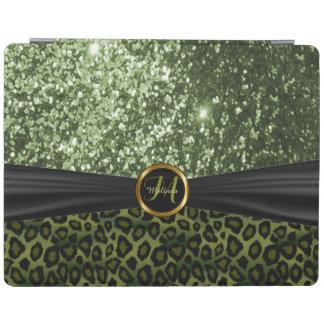 エレガントな緑のグリッターおよびヒョウの皮 iPadスマートカバー