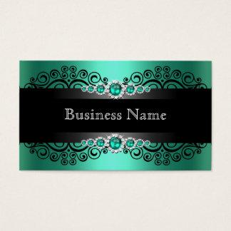エレガントな緑のヒスイの黒の真珠 名刺