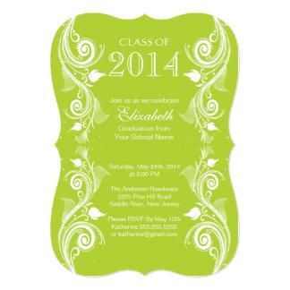 エレガントな緑の白い卒業のパーティの招待状 カード