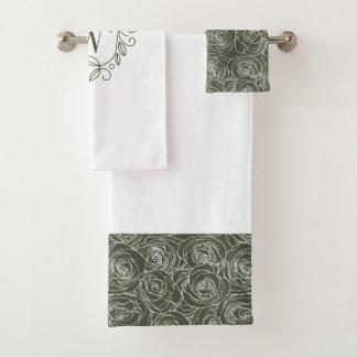エレガントな緑の花のモノグラム バスタオルセット