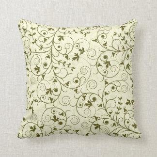 エレガントな緑の花パターンデザイン クッション