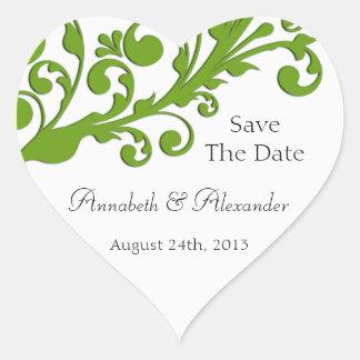 エレガントな緑の花柄の保存日付 ハート形シールステッカー