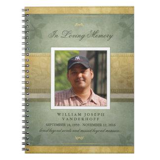 エレガントな緑及び金ゴールドの記念の葬儀の来客名簿 ノートブック