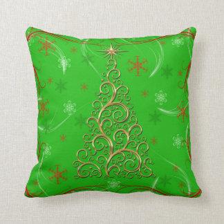 エレガントな緑金ゴールドの渦巻のクリスマスの休日の枕 クッション