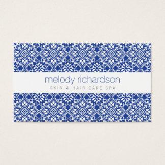 エレガントな美しいのヴィンテージの青パターン 名刺
